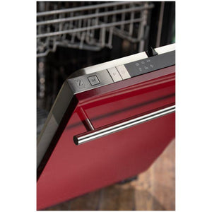 ZLINE 18 in. Top Control Dishwasher In Red Gloss With Stainless Steel Tub And Modern Style Handle (DW-RG-H-18) - Bison Kitchens