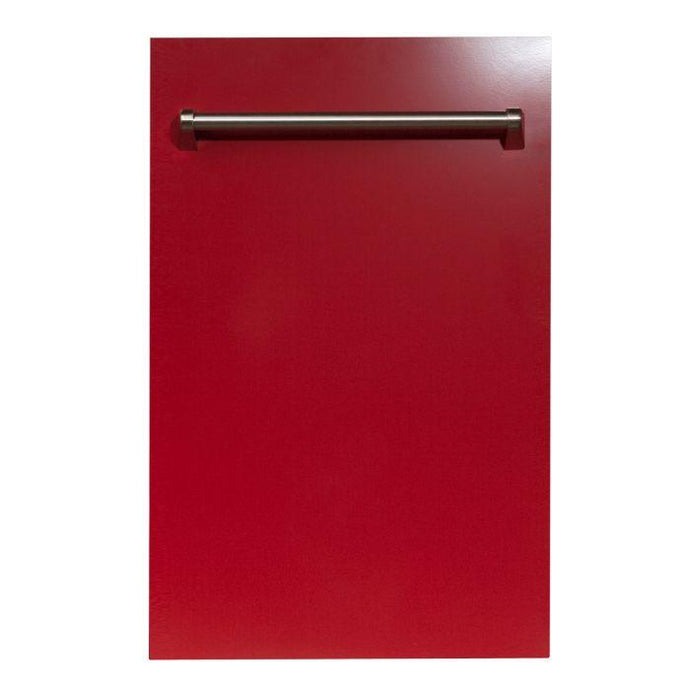 ZLINE 18 in. Top Control Dishwasher In Red Gloss With Stainless Steel Tub And Traditional Style Handle (DW-RG-18) - Bison Kitchens