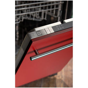 ZLINE 18 in. Top Control Dishwasher In Red Matte With Stainless Steel Tub And Modern Style Handle (DW-RM-18) - Bison Kitchens