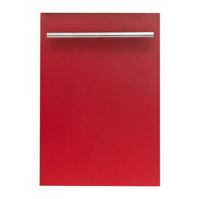 ZLINE 18 in. Top Control Dishwasher In Red Matte With Stainless Steel Tub And Modern Style Handle (DW-RM-H-18) - Bison Kitchens