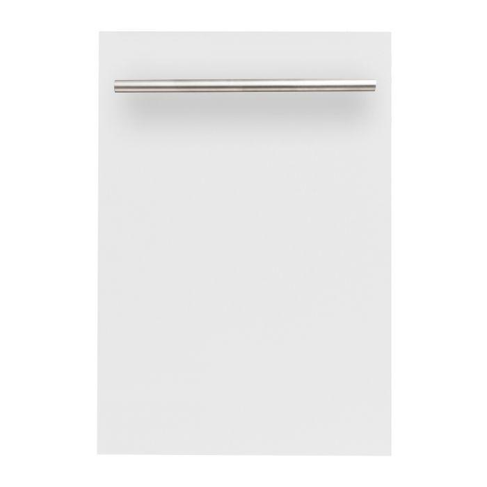 ZLINE 18 in. Top Control Dishwasher In White Matte With Stainless Steel Tub And Modern Style Handle (DW-WM-H-18) - Bison Kitchens