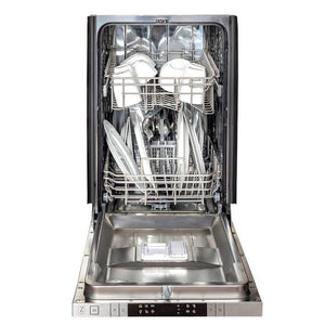 ZLINE 18 in. Top Control Dishwasher In White Matte With Stainless Steel Tub & Traditional Style Handle (DW-WM-18) - Bison Kitchens