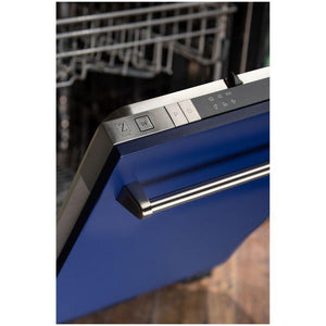 ZLINE 24 in. Top Control Dishwasher In Blue Matte With Stainless Steel Tub And Traditional Style Handle (DW-BM-24) - Bison Kitchens
