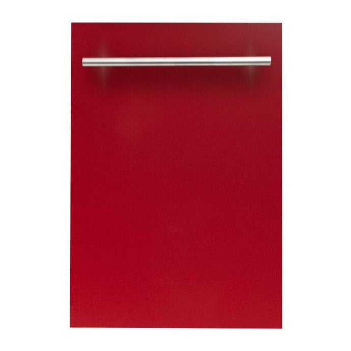 ZLINE 24 in. Top Control Dishwasher In Red Gloss With Stainless Steel Tub And Modern Style Handle (DW-RG-H-24) - Bison Kitchens