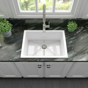 ZLINE 24 In. Rome Dual Mount Fireclay Sink In White Gloss - FRC5123-WH-24 - Bison Kitchens