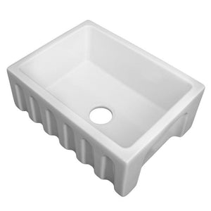 ZLINE 24 In. Venice Farmhouse Reversible Fireclay Sink In White Gloss - FRC5120-WH-24 - Bison Kitchens