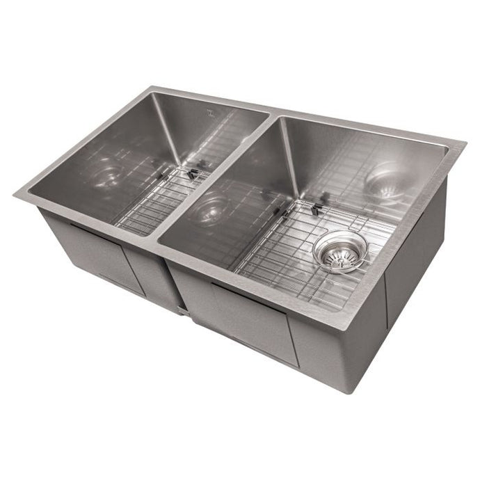 ZLINE Anton 33 In. Undermount Double Bowl Sink in DuraSnow® Stainless Steel - SR50D-33S - Bison Kitchens