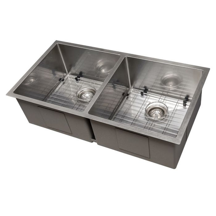 ZLINE Anton 36 In. Undermount Double Bowl Sink in DuraSnow® Stainless Steel - SR50D-36S - Bison Kitchens