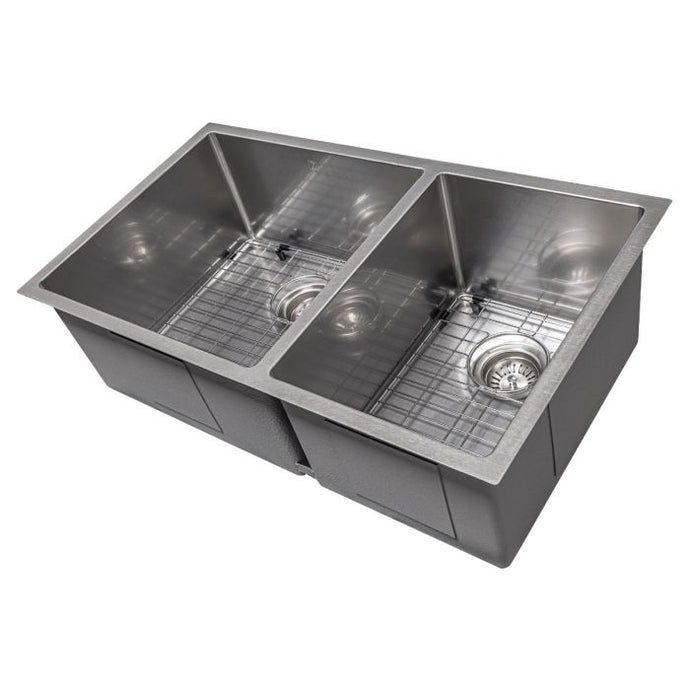 ZLINE Chamonix 33 In. Undermount Double Bowl Sink in DuraSnow® Stainless Steel - SR60D-33S - Bison Kitchens