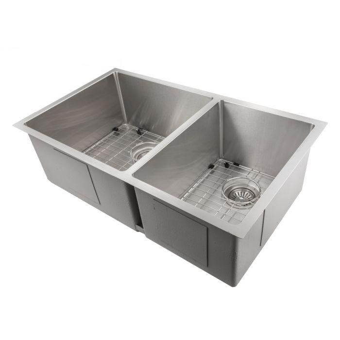 ZLINE Chamonix 33 In. Undermount Double Bowl Sink in Stainless Steel - SR60D-33 - Bison Kitchens
