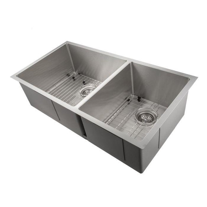 ZLINE Chamonix 36 In. Undermount Double Bowl Sink in Stainless Steel - SR60D-36 - Bison Kitchens
