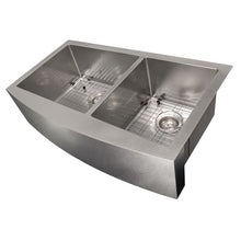 Load image into Gallery viewer, ZLINE Courchevel Farmhouse 36 In. Undermount Double Bowl Sink in DuraSnow® Stainless Steel - SA60D-36S - Bison Kitchens