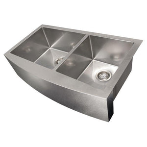 ZLINE Courchevel Farmhouse 36 In. Undermount Double Bowl Sink in DuraSnow® Stainless Steel - SA60D-36S - Bison Kitchens