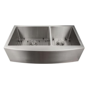 ZLINE Courchevel Farmhouse 36 In. Undermount Double Bowl Sink in Stainless Steel - SA60D-36 - Bison Kitchens