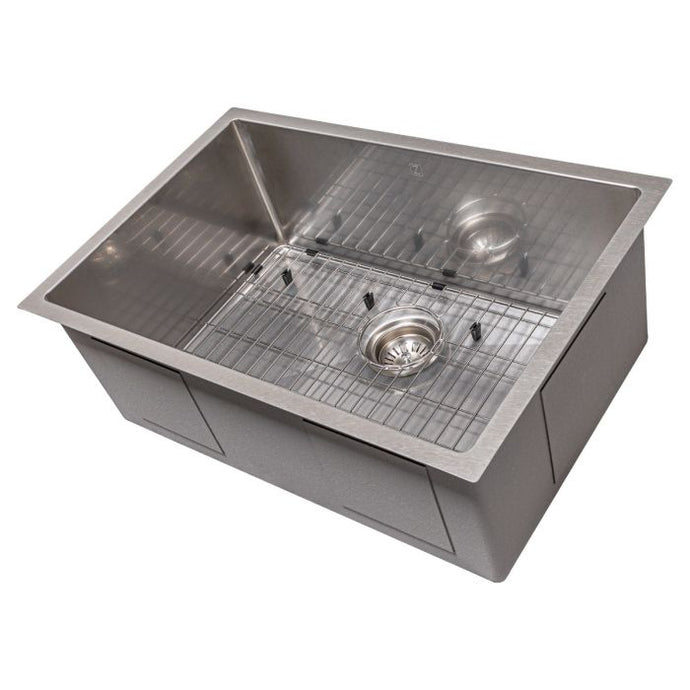 ZLINE Meribel 27 In. Undermount Single Bowl Sink in DuraSnow® Stainless Steel - SRS-27S - Bison Kitchens