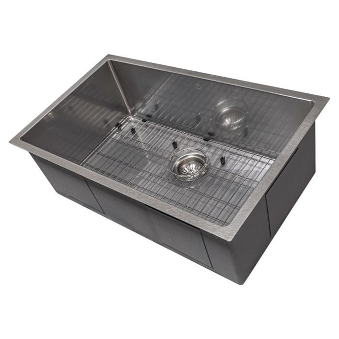 ZLINE Meribel 30 In. Undermount Single Bowl Sink in DuraSnow® Stainless Steel - SRS-30S - Bison Kitchens