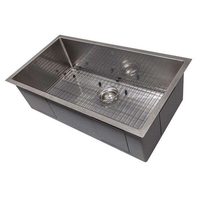 ZLINE Meribel 33 In. Undermount Single Bowl Sink in DuraSnow® Stainless Steel - SRS-33S - Bison Kitchens