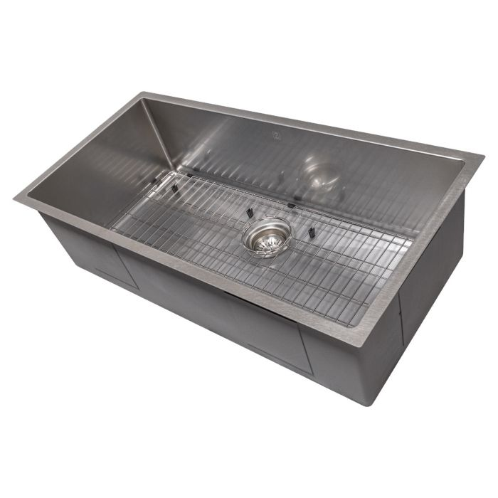 ZLINE Meribel 36 In. Undermount Single Bowl Sink in DuraSnow® Stainless Steel - SRS-36S - Bison Kitchens