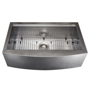 ZLINE Moritz Farmhouse 33 In. Undermount Single Bowl Sink in DuraSnow® Stainless Steel - SLSAP-33S - Bison Kitchens