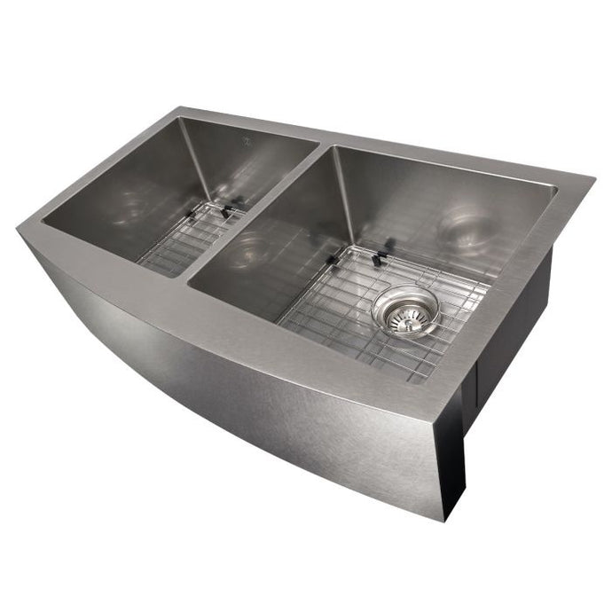 ZLINE Niseko Farmhouse 36 In. Undermount Double Bowl Sink in DuraSnow® Stainless Steel - SA50D-36S - Bison Kitchens