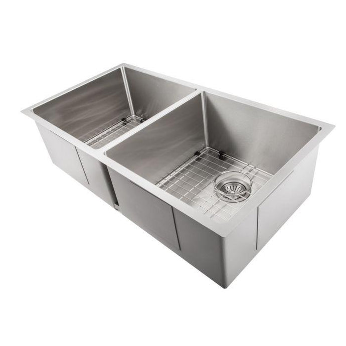 ZLINE Niseko Farmhouse 36 In. Undermount Double Bowl Sink in Stainless Steel - SA50D-36 - Bison Kitchens