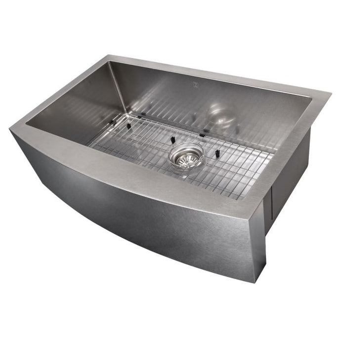 ZLINE Vail Farmhouse 33 In. Undermount Single Bowl Sink in DuraSnow® Stainless Steel - SAS-33S - Bison Kitchens