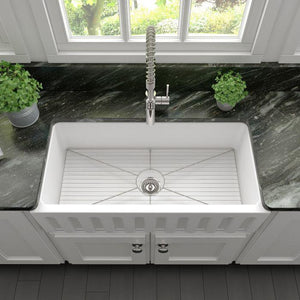 Kitchen Sinks - ZLINE Venice Farmhouse Reversible Fireclay Sink In White Matte - (FRC5122-WM-36)