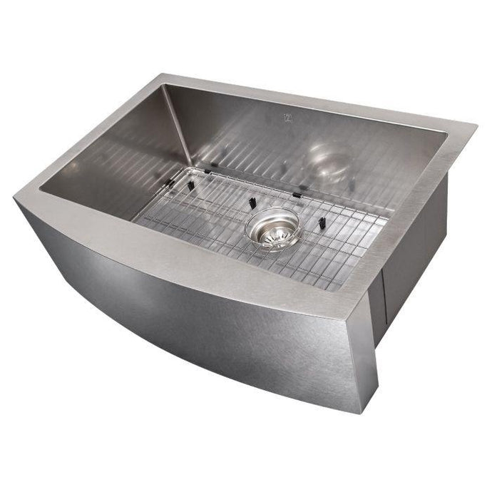 ZLINE Zermatt Farmhouse 30 In. Undermount Single Bowl Sink in DuraSnow® Stainless Steel - SAS-30S - Bison Kitchens