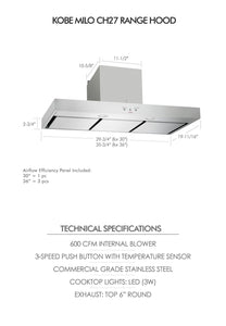 KOBE Premium 30-36 in. 600 CFM Under Cabinet Range Hood in Stainless Steel - CH2730SQ3-XX - Bison Kitchens