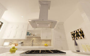 ZLINE 30-36 in. Island Mount Range Hood in DuraSnow Stainless Steel and Glass - 8GL14IS-30 - Bison Kitchens