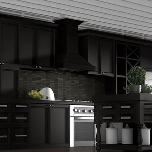 ZLINE 30-36 in. Wooden Wall Mount Range Hood in Black - Includes Remote Motor (KBCC-RD-30) - Bison Kitchens