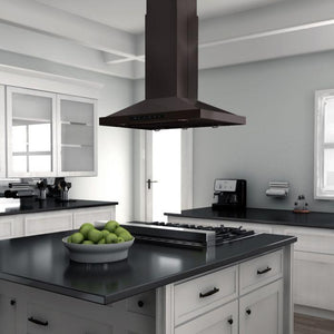 ZLINE 30-48 in. 760 CFM Island Mount Black Stainless Steel Range Hood (BSGL2iN-30) - Bison Kitchens