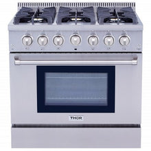 Load image into Gallery viewer, Thor Kitchen 36 in. Pro-style 6 Stainless Steel Burner Gas Range - HRG3618U - Bison Kitchens