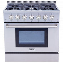 Load image into Gallery viewer, Thor Kitchens 36 in. Professional Dual Fuel Range in Stainless Steel - HRD3606U - Bison Kitchens