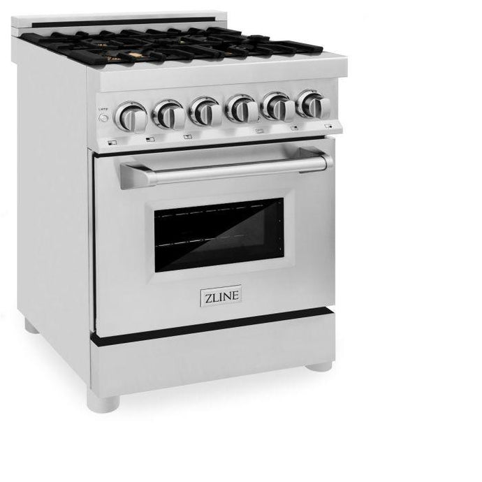 Ranges - ZLINE 24 IN. 2.8 CU. FT. Professional Dual Fuel Range In Stainless Steel With Brass Burners - (RA-BR-24)