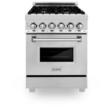 Load image into Gallery viewer, Ranges - ZLINE 24 IN. 2.8 CU. FT. Professional Dual Fuel Range In Stainless Steel With Brass Burners - (RA-BR-24)