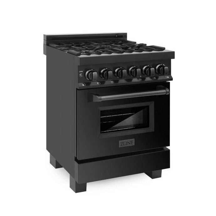 Ranges - ZLINE 24 In. Professional Dual Fuel Range In Black Stainless Steel - (RAB-24)