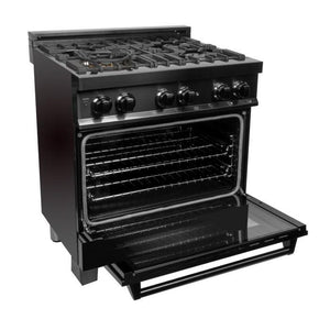 ZLINE 30 in. Black Stainless 4.0 cu.ft. 4 Gas Burner/Electric Oven Range (RAB-30) - Bison Kitchens