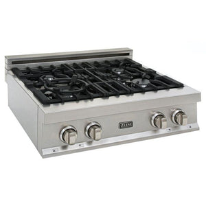 ZLINE 30 in. Porcelain Rangetop In Durasnow® Stainless Steel With 4 Gas Burners - (RTS-30) - Bison Kitchens