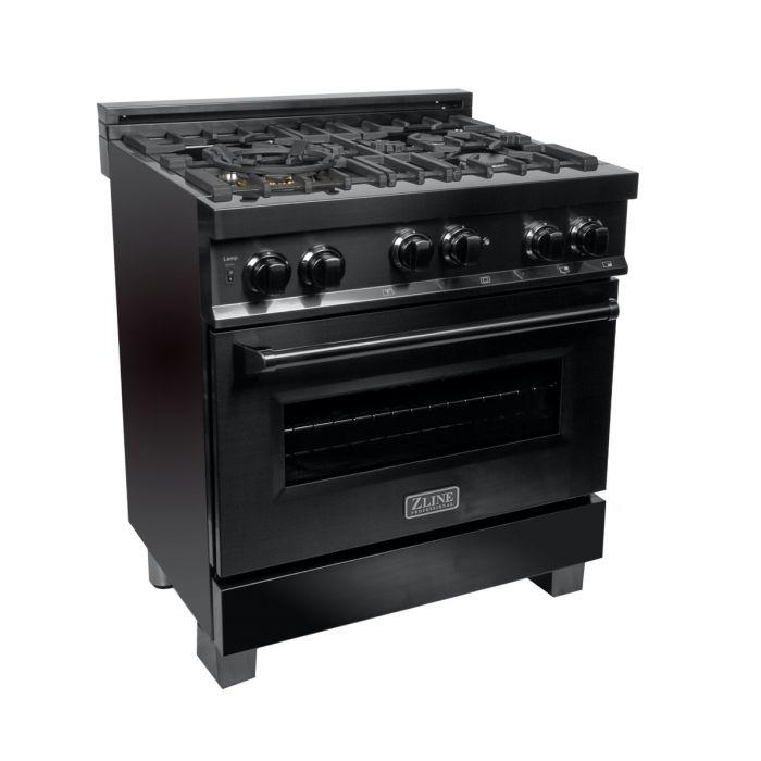 ZLINE 30 in. Professional 4.0 cu. Ft. 4 Gas on Gas Range in Black Stainless Steel (RGB-30) - Bison Kitchens