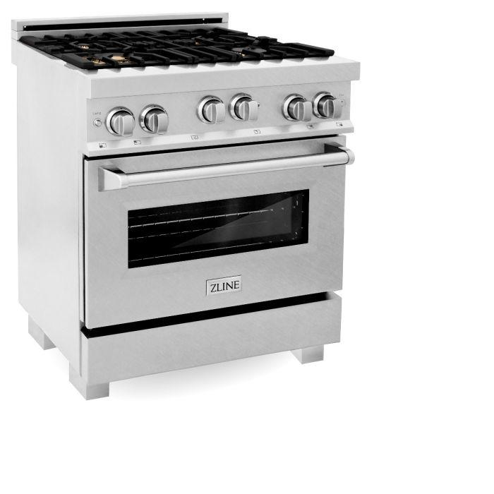 Ranges - ZLINE 30 In. Professional 4.0 Cu. Ft. 4 Gas On Gas Range In Durasnow® Stainless Steel With Brass Burners - (RGS-SN-BR-30)