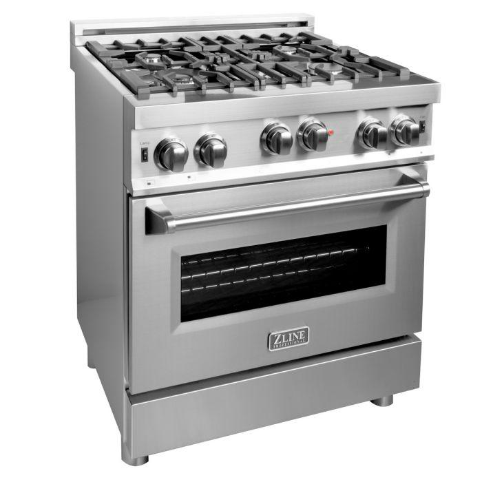 ZLINE 30 in. Professional 4.6 cu. Ft. 6 Gas on Gas Range in Stainless Steel (RG30) - Bison Kitchens