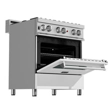 Load image into Gallery viewer, ZLINE 30 in. Professional Dual Fuel Range In Durasnow® Stainless Steel With White Matte Door (RAS-WM-30) - Bison Kitchens