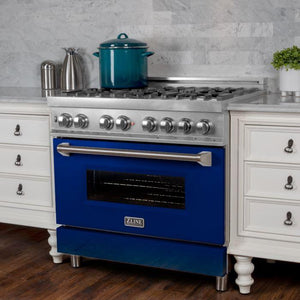 ZLINE 30 in. Professional Dual Fuel Range in Snow Stainless with Blue Gloss Door (RAS-BG-30) - Bison Kitchens