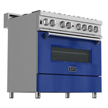 Load image into Gallery viewer, ZLINE 30 in. Professional Dual Fuel Range in Snow Stainless with Blue Gloss Door (RAS-BG-30) - Bison Kitchens