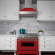 Load image into Gallery viewer, ZLINE 30 in. Professional Dual Fuel Range in Snow Stainless with Red Gloss Door (RAS-RG-30) - Bison Kitchens