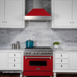 ZLINE 30 in. Professional Dual Fuel Range in Snow Stainless with Red Matte Door (RAS-RM-30) - Bison Kitchens