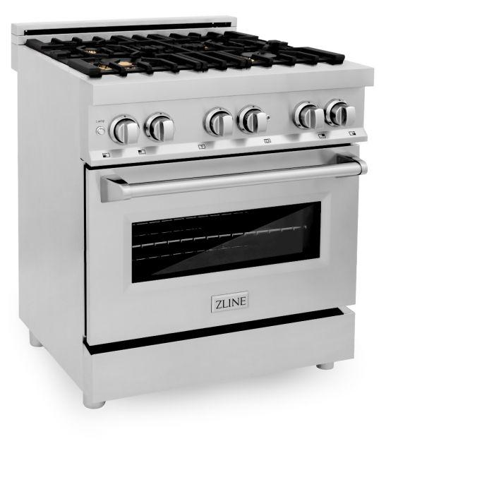 Ranges - ZLINE 30 In. Professional Dual Fuel Range In Stainless Steel With Brass Burners - (RA-BR-30)