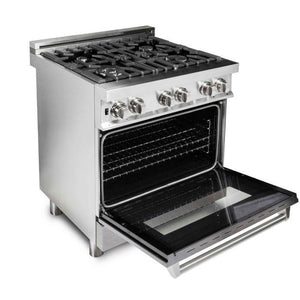 ZLINE 30 in. Professional Dual Fuel Range With Durasnow® Finish Door (RA-SN-30) - Bison Kitchens