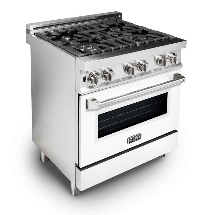 ZLINE 30 in. Professional Dual Fuel Range With White Matte Door (RA-WM-30) - Bison Kitchens